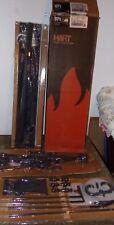 Vtg Hart Metal Fireplace Screen & Cast Iron Andiron & Tool Set MCM 871 NOS New