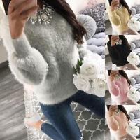 Women Winter Knitted Jumper Sweater Tops Pullover Knitwear Long Tops Fluffy