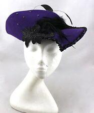 VINTAGE USA Purple Wool Felt Black Sequin Feather Fascinator Dress Hat