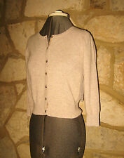 New Boden Size 6 Pure Cashmere Oat Meal Crew Neck 3/4 Sleeves Cropped Cardigan