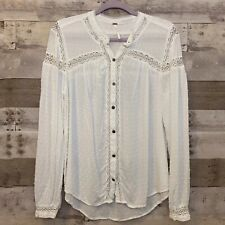 Free People Size Large White Boho Lace Textured Button Up Shirt Top Blouse