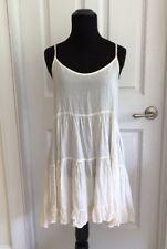Brandy Melville Ivory Tiered Ruffled Slip Dress Size Small