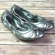 Tods Silver Metallic Leather Ballet Flats Womens Size 39 US 9 Tassel Leaves