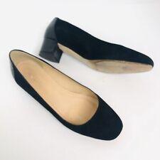 J. Crew Black Velvet Round Toe Slip On Block Heel Pumps Shoes Womens Size 7.5