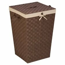 Honey-Can-Do Woven Strap Hamper with Liner and Lid, Java W