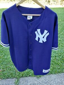 NEW YORK YANKEES 90s VTG Majestic SEWN Button Jersey Navy Blue XL Made USA Blank