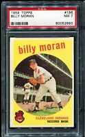 1959 Topps Baseball #196 BILLY MORAN Cleveland Indians PSA 7 NM