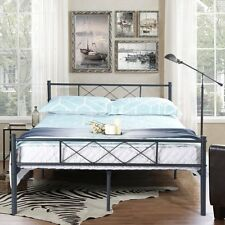 Full Size Metal Bed Frame Mattress Foundation with Headboard and Footboard Black