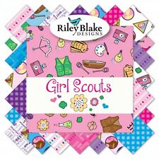 """Girl Scouts Rolie Polie, Forty (40) 2.5"""" Fabric Strips from Riley Blake"""