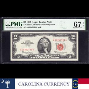 1963 $2 LEGAL TENDER *RED SEAL* PMG 67 EPQ Fr 1513 A09842781A