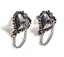 Alchemy England - Witches Heart Stud Earrings, Gothic, Pagan Love, Pewter Gift