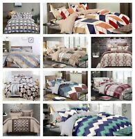 DOUBLE & KING 4 PCS COMPLETE BEDDING SET DUVET COVER FITTED SHEET 2 PILLOW CASES
