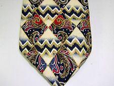 Otimo Uomo PAISLEY Silk Neck Tie Necktie White Blue Red Geometric