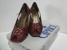 CAPRICE 9-9-29303-20 Leather Red, peep toes, New with Box, size 4.5/37.5 Bargain