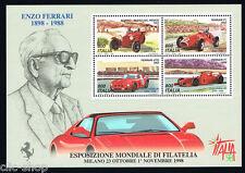 ITALIA 1 FOGLIETTO ENZO FERRARI ESPOSIZIONE MONDIALE FILATELIA 1998 nuovo**(BI6)