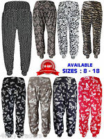 NEW LADIES PRINTED HAREM  CUFFED BOTTOM ALI BABA WOMENS PANTS SIZES 8-18