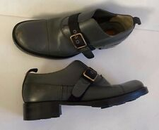 MIU MIU Vintage Leather side Buckle Oxford 38 olive green Sz 8 8.5 Derby Flat