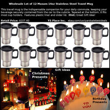 Wholesale Lot of 12 Stainless Steel 14oz Travel Car Mugs with Tapered Bottom