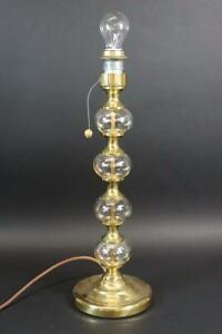 Tischlampe Lampenfuß Metall vergoldet Glas Bubble Design 1970er Jahre (MÖ3423)