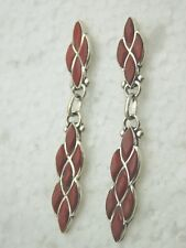 NATIVE AMERICAN ZUNI RED CORAL INLAY EARRINGS POST TYPE STERLING