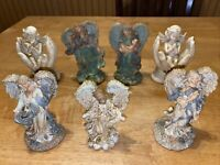 Lot Of 7 Angels Heavenly Figurines Pray Religion K's Collection Resin Ceramic