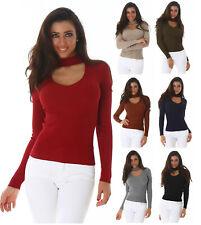 Voyelles Damen V-Cut Pullover Strickpullover