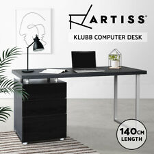 Artiss Office Computer Desk Study Table Home Metal Student Drawer Cabinet Black