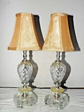 "LAMPS A PAIR OF 16""H ANTIQUE FANCY SWIRLED GLASS VANITY LAMPS w/FABRIC SHADES"