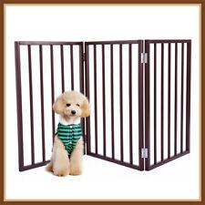 24'' 3 Panel Wooden Folding Indoor Pet Dog Gate Freestanding Safety Fence w/Door
