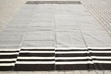 Turkish Kilim Rugs Oversized Kilim 10'2x13'1 Feet Black White Striped Rug K-2088