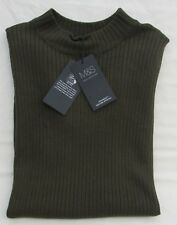LADIES MARKS AND SPENCER STAYNEW KHAKI SLEEVELESS RIBBED JUMPER SIZE 20