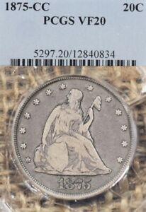 1875-CC 20C PCGS VF20 Twenty Cent Piece Carson City