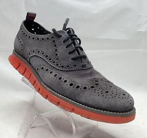 COLE HAAN C14357 ZEROGRAND GRAY SUEDE WINGTIP OXFORD Size 7 M MENS US