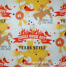 BonEful Fabric FQ Cotton Quilt Western Cowboy Country Texas Horse Red Hot Pepper