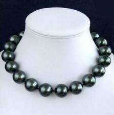 "Charming!14mm South Black Sea Shell Pearl Necklace 18""AAA"