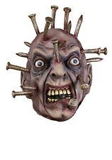 Spike Thru Head Mask Nails Going Through Face Deluxe Latex Costume Adult Mens