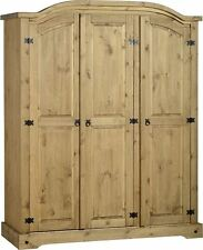 Corona 3 Door Solid Pine Wardrobe Distressed Waxed Pine- Highest Quality on Ebay