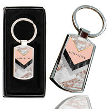 Personalised NAME MARBLE Printed Chrome Metal Keyring with FREE Gift Box 05