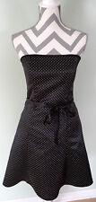 JESSICA MCCLINTOCK Gunne Sax Black White Polka Dot Strapless Dress Size 7/8