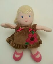 Carters Blond Girl Doll Brown Dress Pink Bow Flower Ponytail Plush Stuffed