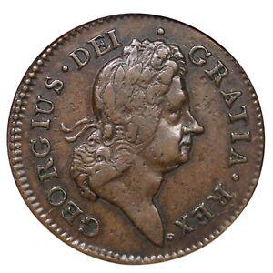 1722 ANACS VF 35 Harp Left Hibernia Colonial Copper Coin 1/2p
