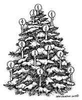 CHRISTMAS Tree Old Car Family Wood Mounted Rubber Stamp NORTHWOODS P9890 New