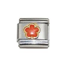 Orange Sparkly Flower Italian Charm - fits 9mm classic Italian charm bracelets