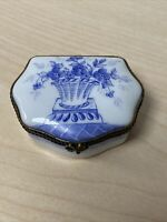 Limoges France Peint Main P.V. Country Floors Floral Blue White Oval Trinket Box