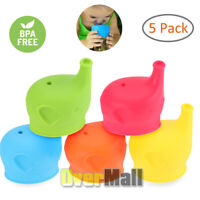 5 Pack Healthy Silicone Sippy Cup Lids - Lab Tested Spill Proof FDA Approved US