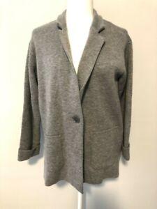 Talbots Gray Sweater Jacket Large Petite PL Lamb's Wool Blend Cardigan Blaze New