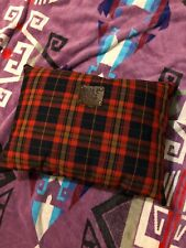 """WILL LEATHER GOODS Tan Red Plaid Throw Travel Pillow Purse Cushion 11"""" X14"""""""