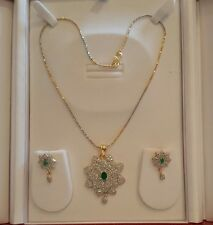 Indian Fashion Jewellery White Latest gold plated  Pendant set with Earring