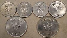 Isreal 50 Pruta 1949 w/o p,54 milled edge,54 plain edge; 100 Pruta 1954;250 Prut