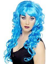 Perruque Bouclée Bleu SIRENE Déguisement Adulte Femme Costume Fée Dessin Animé